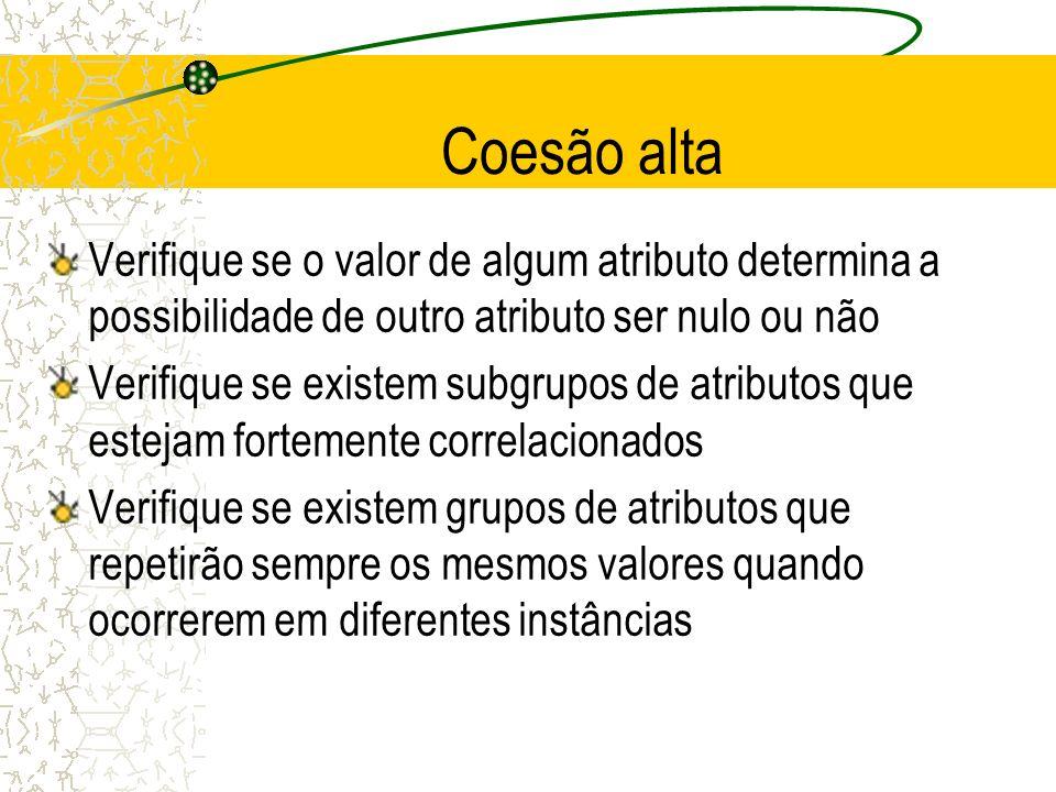 Coesão alta Verifique se o valor de algum atributo determina a possibilidade de outro atributo ser nulo ou não Verifique se existem subgrupos de atrib