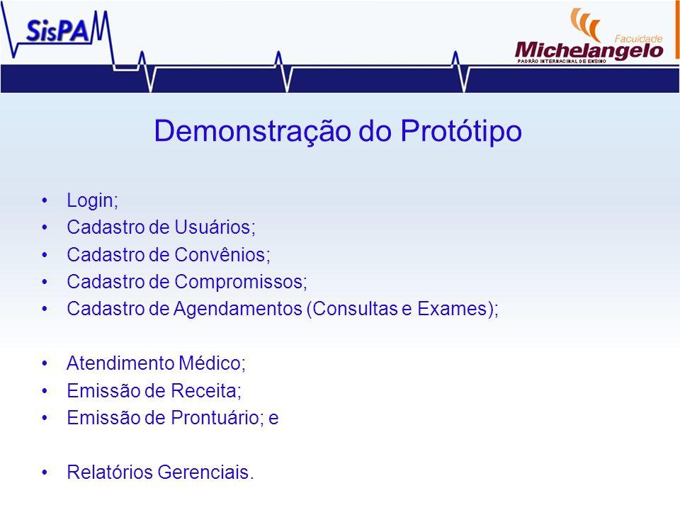 Demonstração do Protótipo Login; Cadastro de Usuários; Cadastro de Convênios; Cadastro de Compromissos; Cadastro de Agendamentos (Consultas e Exames);