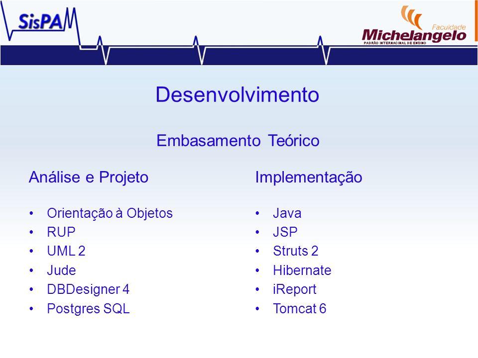 Desenvolvimento Embasamento Teórico Análise e Projeto Orientação à Objetos RUP UML 2 Jude DBDesigner 4 Postgres SQL Implementação Java JSP Struts 2 Hi