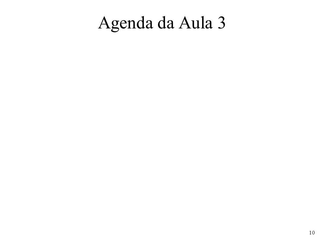 Agenda da Aula 3 10
