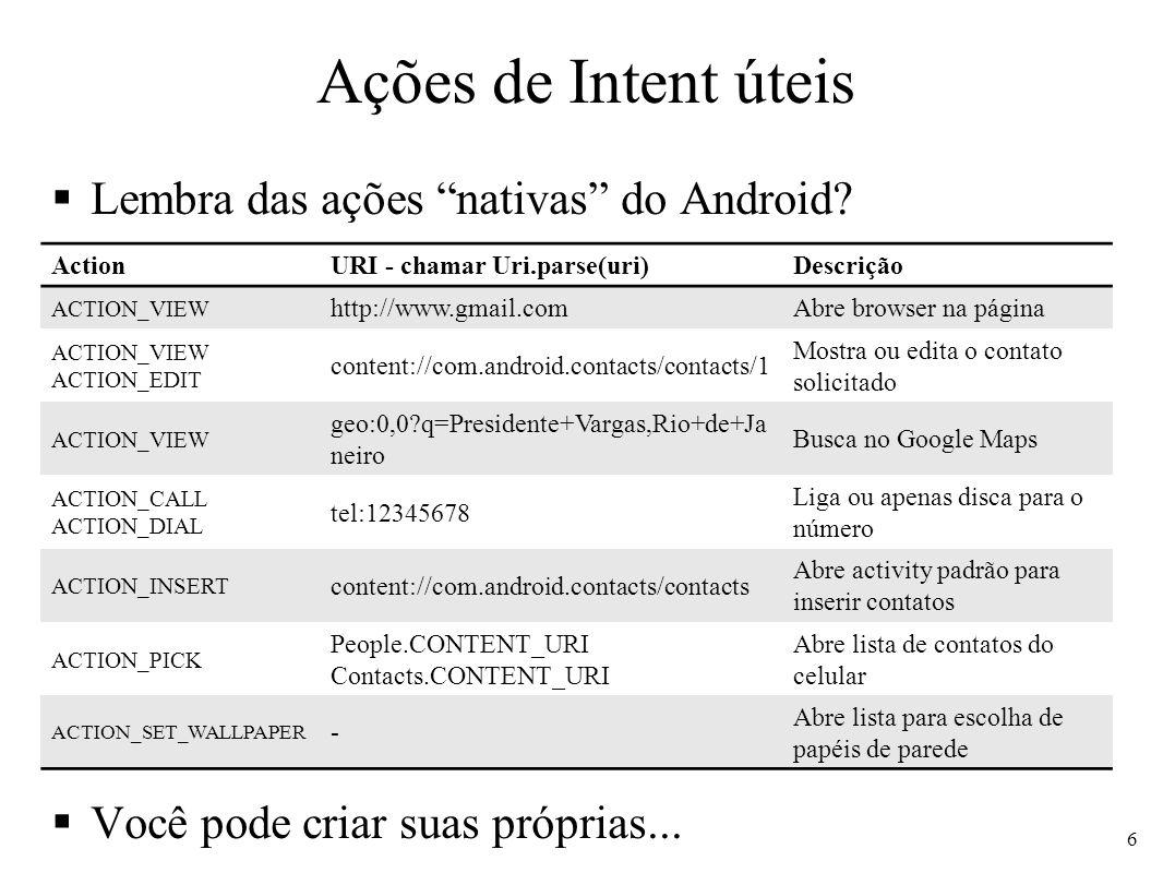 Ações de Intent úteis Lembra das ações nativas do Android? Você pode criar suas próprias... 6 ActionURI - chamar Uri.parse(uri)Descrição ACTION_VIEW h