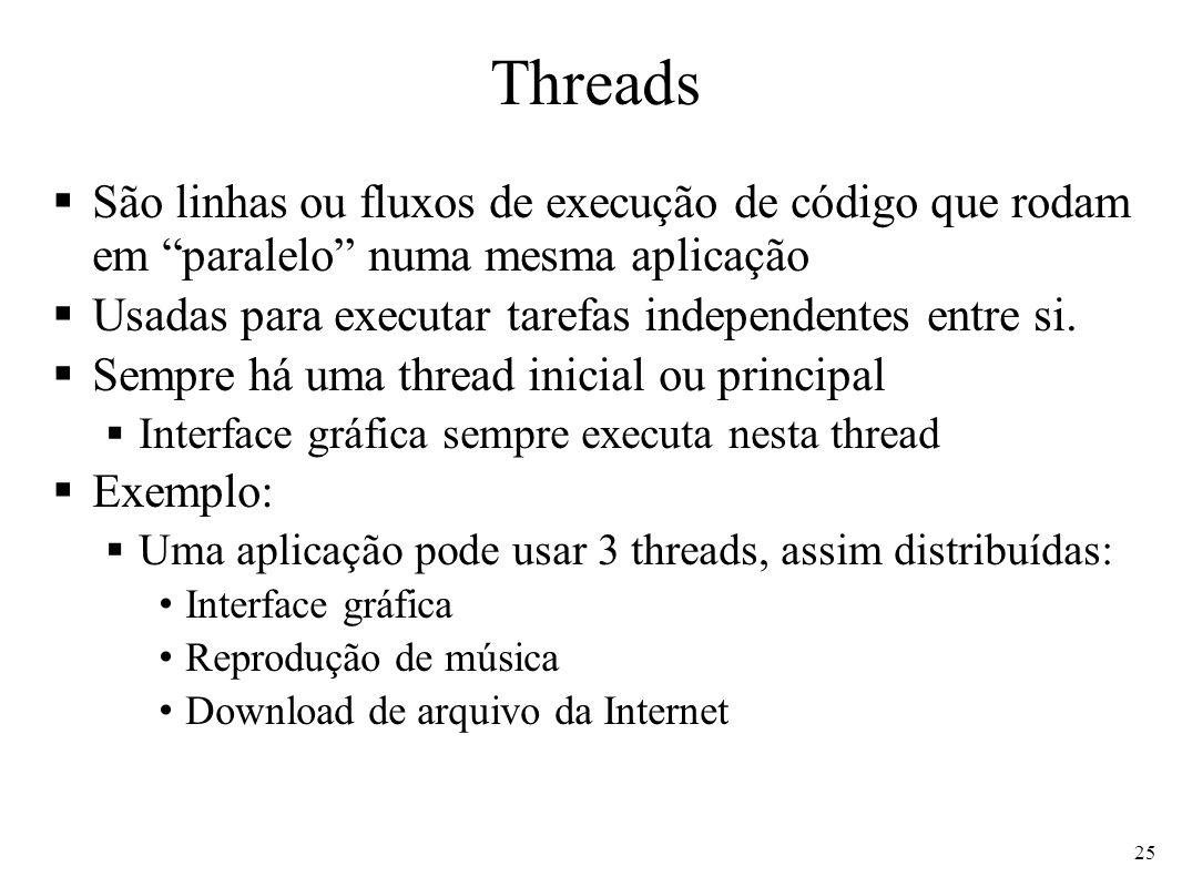 Threads São linhas ou fluxos de execução de código que rodam em paralelo numa mesma aplicação Usadas para executar tarefas independentes entre si.