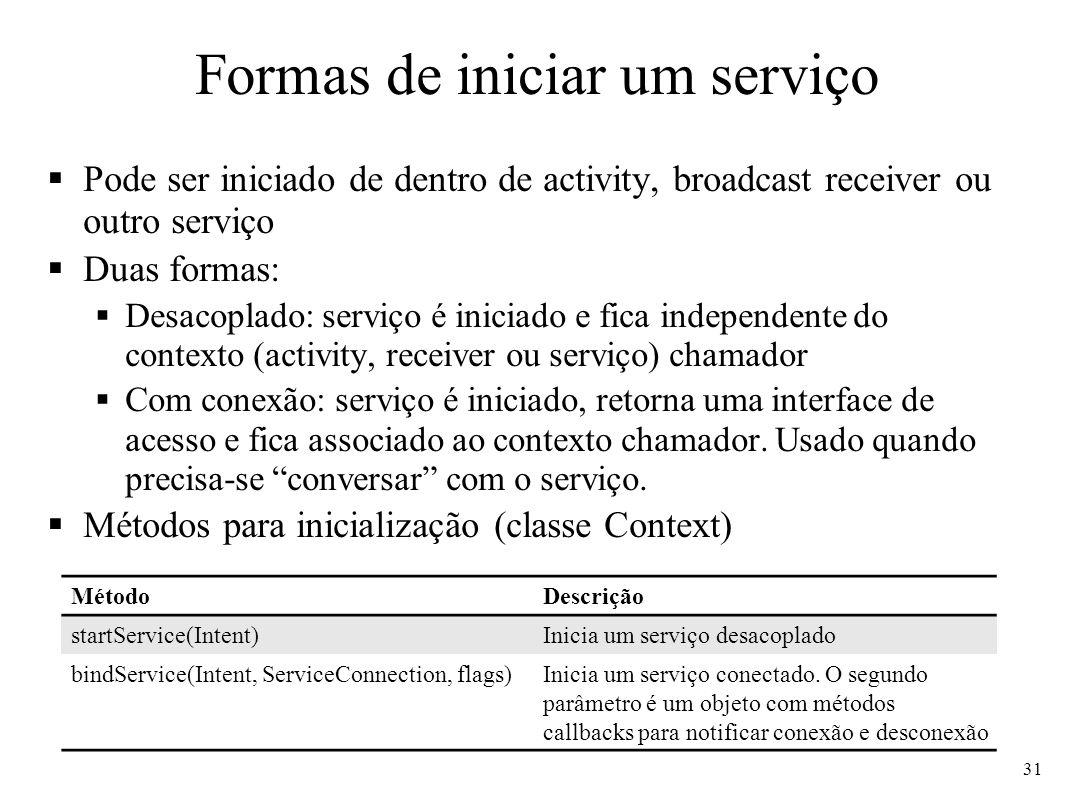 Formas de iniciar um serviço Pode ser iniciado de dentro de activity, broadcast receiver ou outro serviço Duas formas: Desacoplado: serviço é iniciado