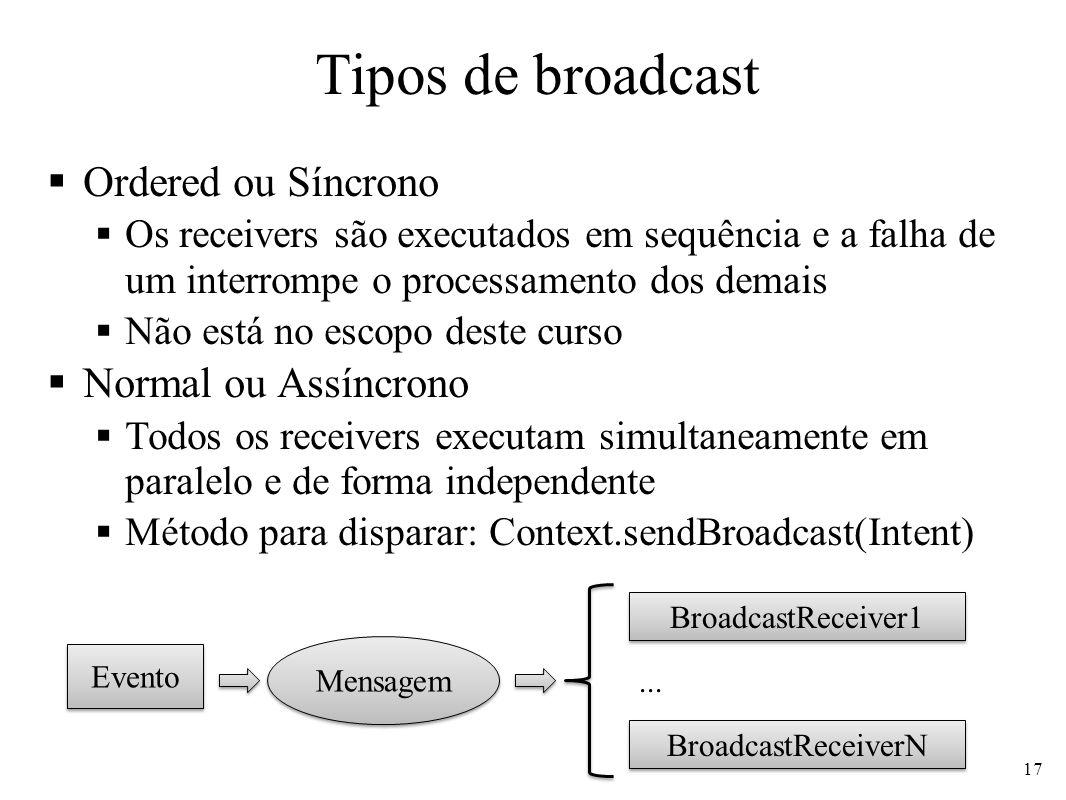 Tipos de broadcast Ordered ou Síncrono Os receivers são executados em sequência e a falha de um interrompe o processamento dos demais Não está no escopo deste curso Normal ou Assíncrono Todos os receivers executam simultaneamente em paralelo e de forma independente Método para disparar: Context.sendBroadcast(Intent) 17 Evento Mensagem BroadcastReceiver1 BroadcastReceiverN...