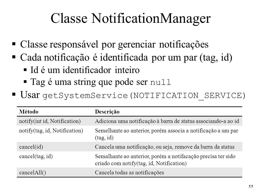 Classe NotificationManager Classe responsável por gerenciar notificações Cada notificação é identificada por um par (tag, id) Id é um identificador inteiro Tag é uma string que pode ser null Usar getSystemService(NOTIFICATION_SERVICE) 55 MétodoDescrição notify(int id, Notification)Adiciona uma notificação à barra de status associando-a ao id notify(tag, id, Notification)Semelhante ao anterior, porém associa a notificação a um par (tag, id) cancel(id)Cancela uma notificação, ou seja, remove da barra da status cancel(tag, id)Semalhante ao anterior, porém a notifacação precisa ter sido criado com notify(tag, id, Notification) cancelAll()Cancela todas as notificações