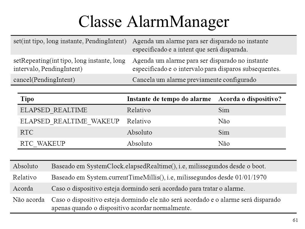 Classe AlarmManager 61 AbsolutoBaseado em SystemClock.elapsedRealtime(), i.e, milissegundos desde o boot. RelativoBaseado em System.currentTimeMillis(
