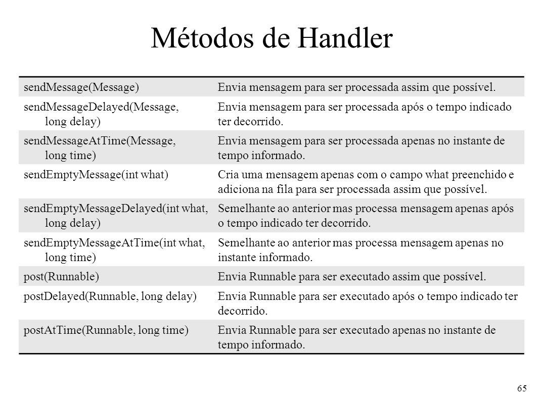Métodos de Handler sendMessage(Message)Envia mensagem para ser processada assim que possível. sendMessageDelayed(Message, long delay) Envia mensagem p
