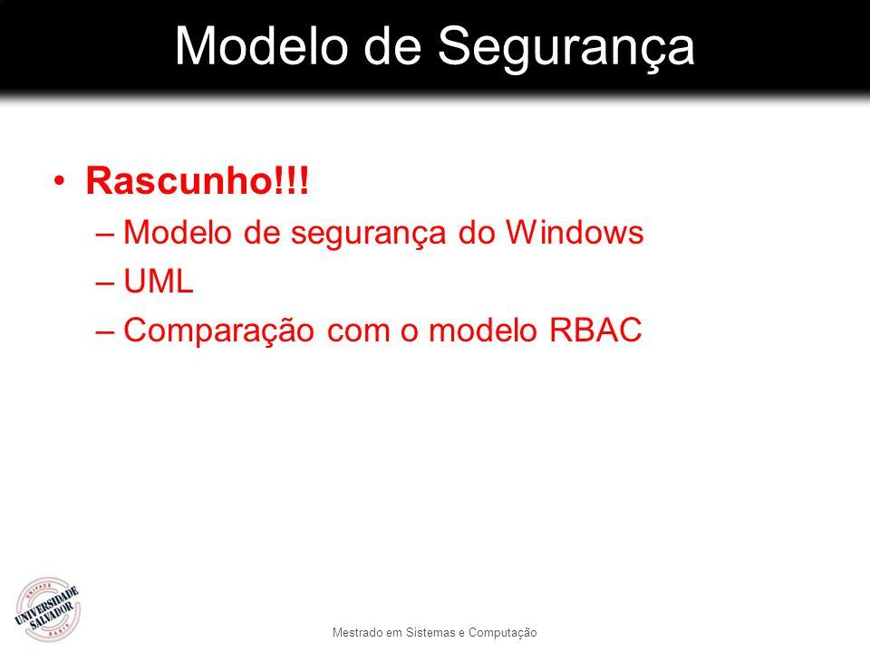 Modelo de Segurança Rascunho!!! –Modelo de segurança do Windows –UML –Comparação com o modelo RBAC Mestrado em Sistemas e Computação