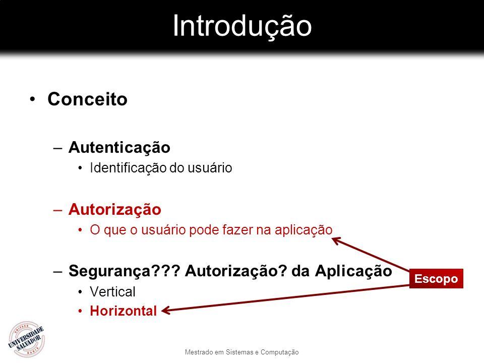 Introdução Conceito –Autenticação Identificação do usuário –Autorização O que o usuário pode fazer na aplicação –Segurança??? Autorização? da Aplicaçã