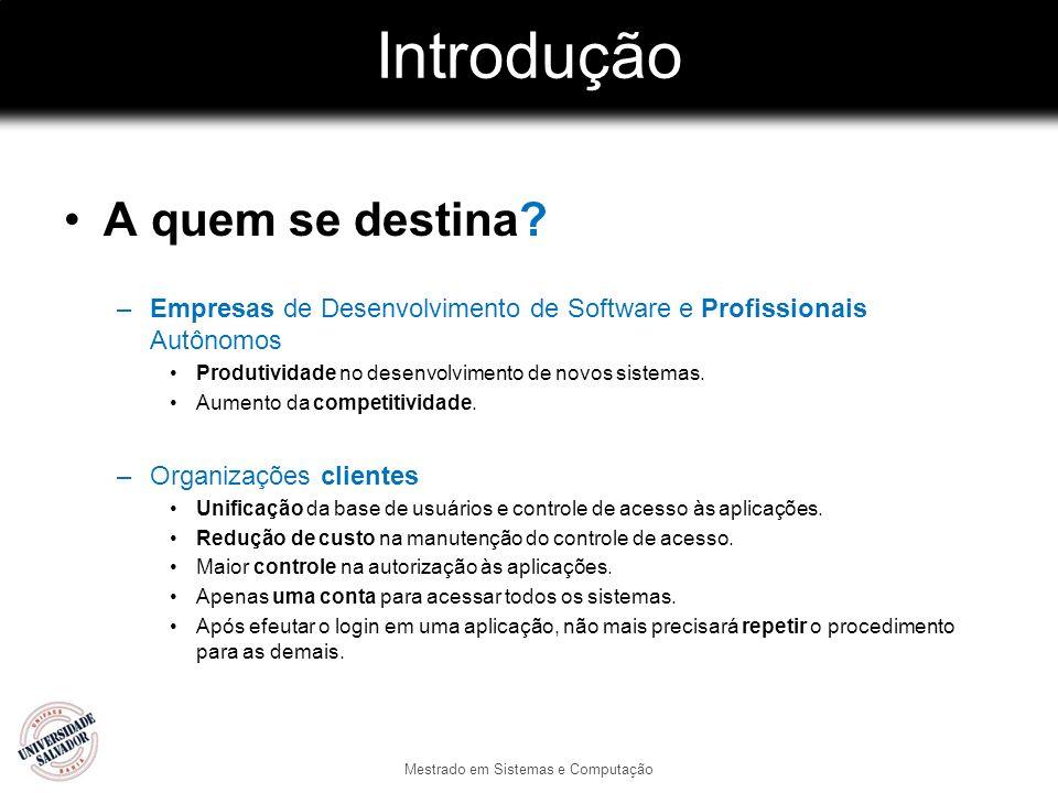 Introdução A quem se destina? –Empresas de Desenvolvimento de Software e Profissionais Autônomos Produtividade no desenvolvimento de novos sistemas. A