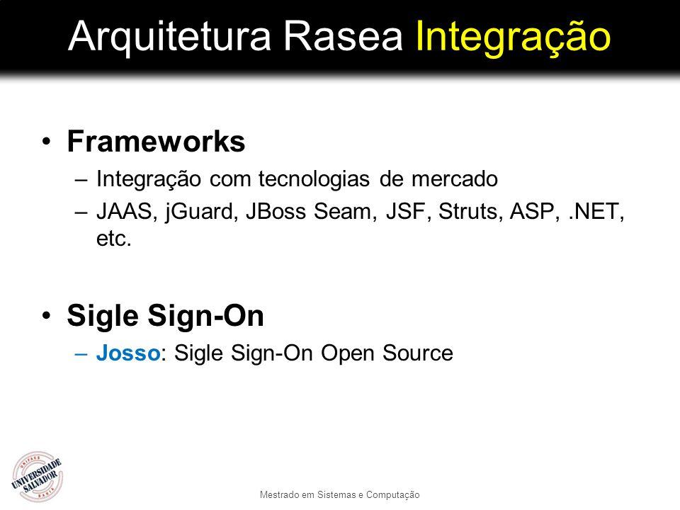 Arquitetura Rasea Integração Frameworks –Integração com tecnologias de mercado –JAAS, jGuard, JBoss Seam, JSF, Struts, ASP,.NET, etc. Sigle Sign-On –J
