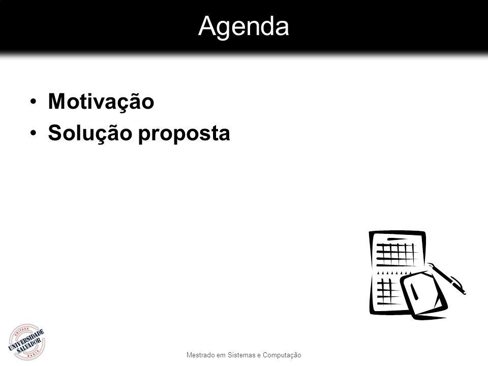 Mestrado em Sistemas e Computação Agenda Motivação Solução proposta