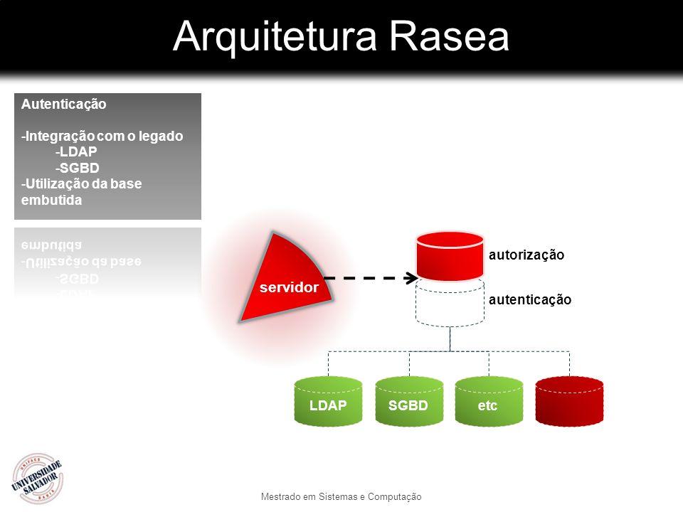 Arquitetura Rasea Mestrado em Sistemas e Computação autorização autenticação LDAPSGBDetc servidor