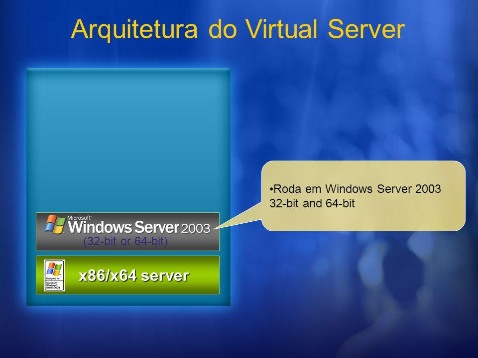 Arquitetura do Virtual Server x86/x64 server x86/x64 server (32-bit or 64-bit) Roda em Windows Server 2003 32-bit and 64-bit