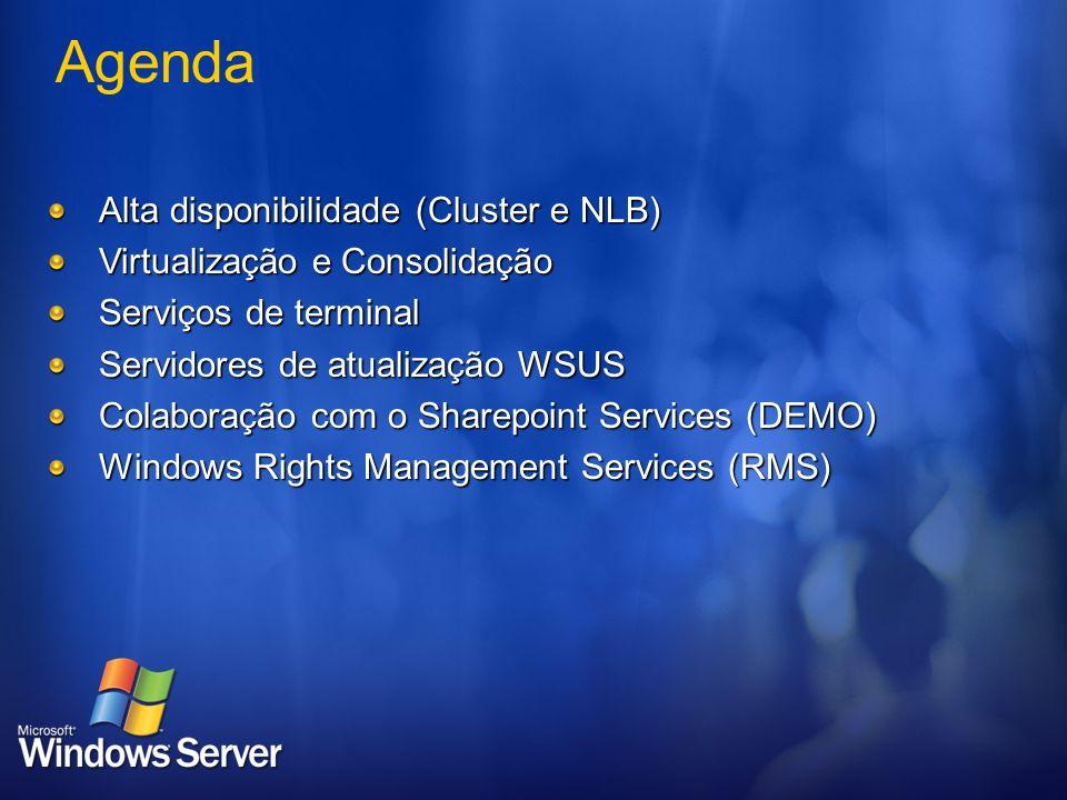 Agenda Alta disponibilidade (Cluster e NLB) Virtualização e Consolidação Serviços de terminal Servidores de atualização WSUS Colaboração com o Sharepo