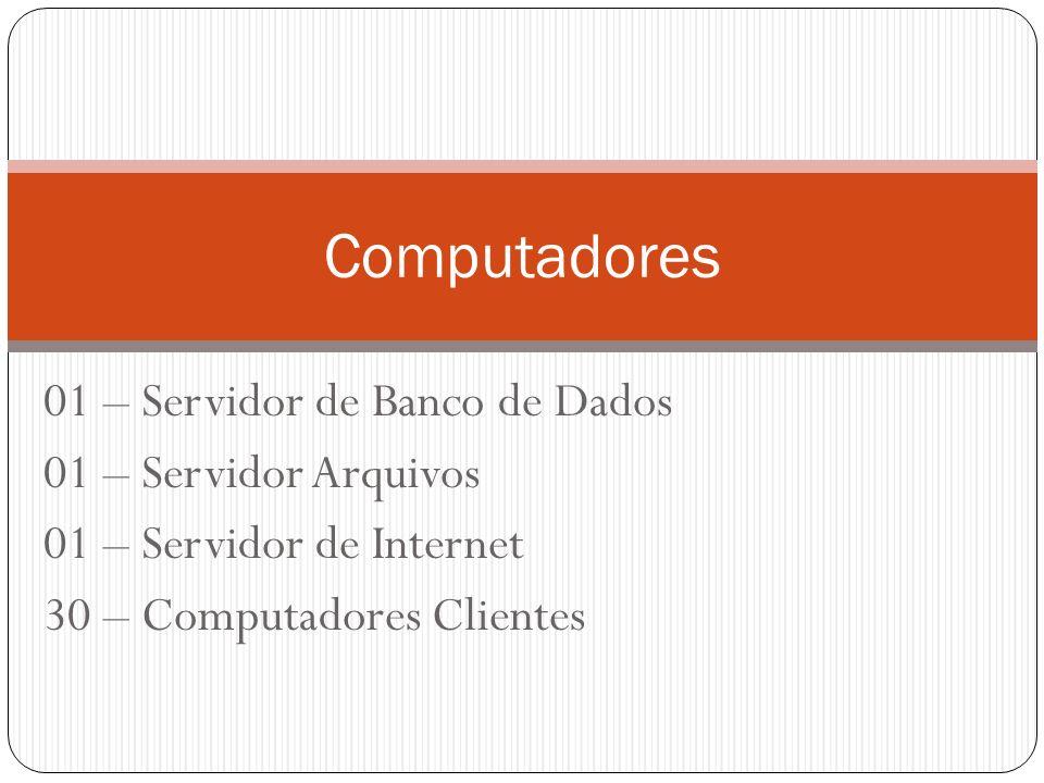 01 – Servidor de Banco de Dados 01 – Servidor Arquivos 01 – Servidor de Internet 30 – Computadores Clientes Computadores