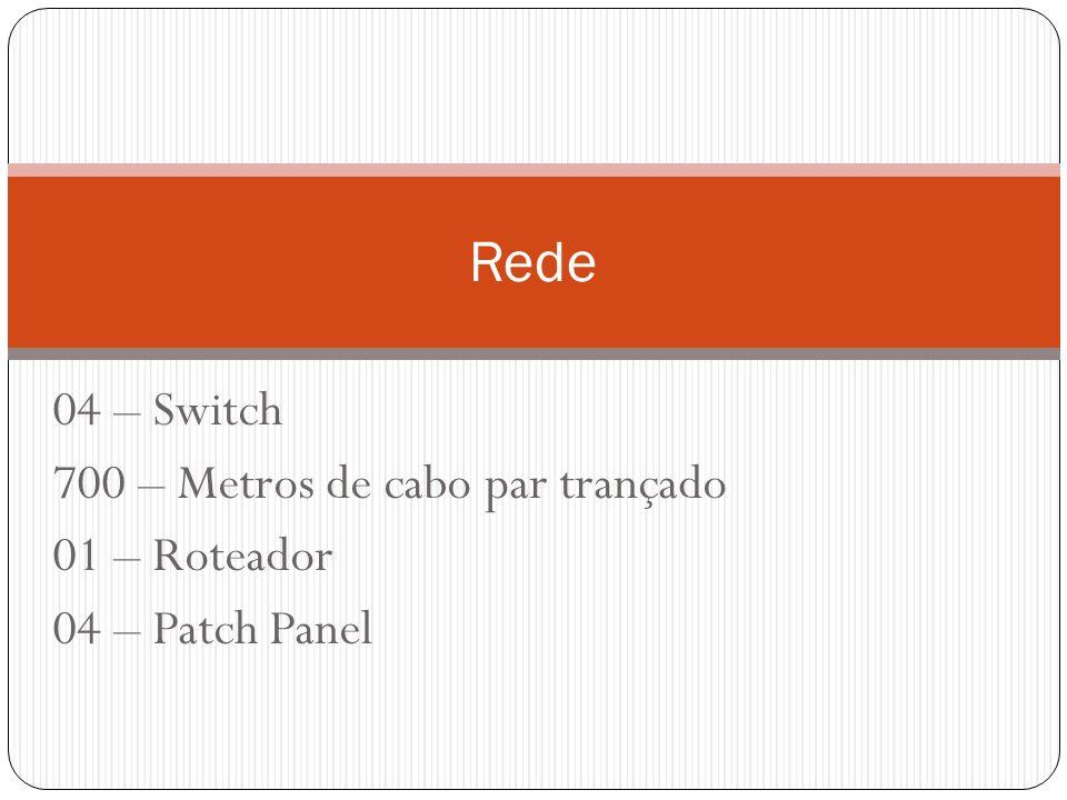 04 – Switch 700 – Metros de cabo par trançado 01 – Roteador 04 – Patch Panel Rede