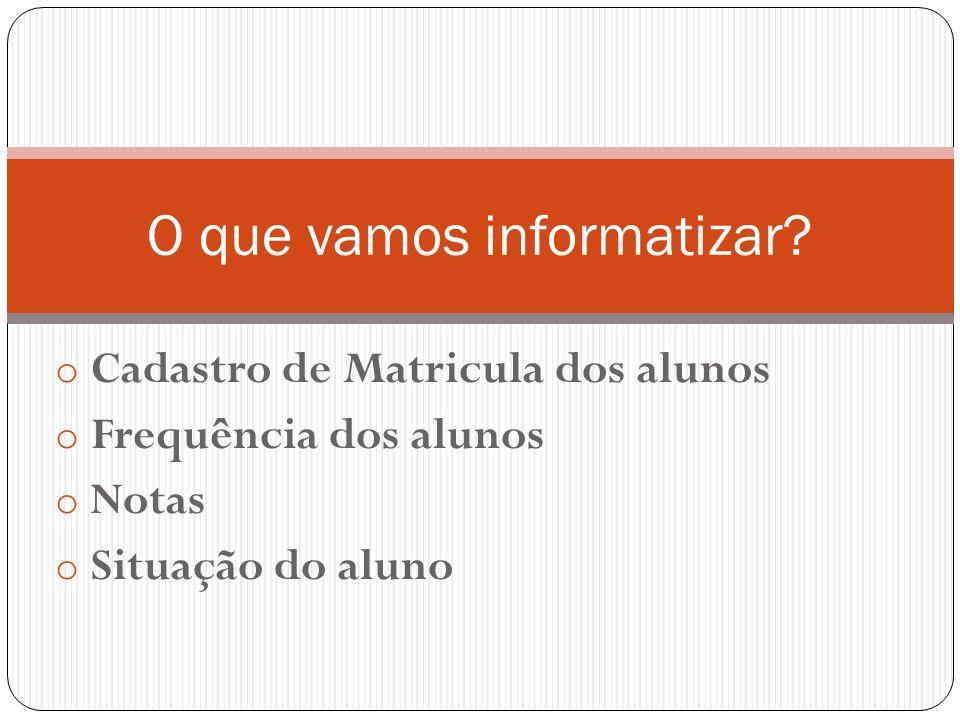 o Cadastro de Matricula dos alunos o Frequência dos alunos o Notas o Situação do aluno O que vamos informatizar?