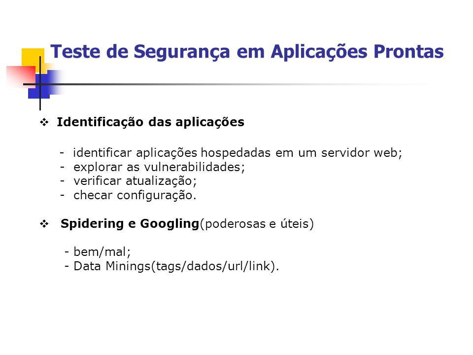 Teste de Segurança em Aplicações Prontas Identificação das aplicações - identificar aplicações hospedadas em um servidor web; - explorar as vulnerabil