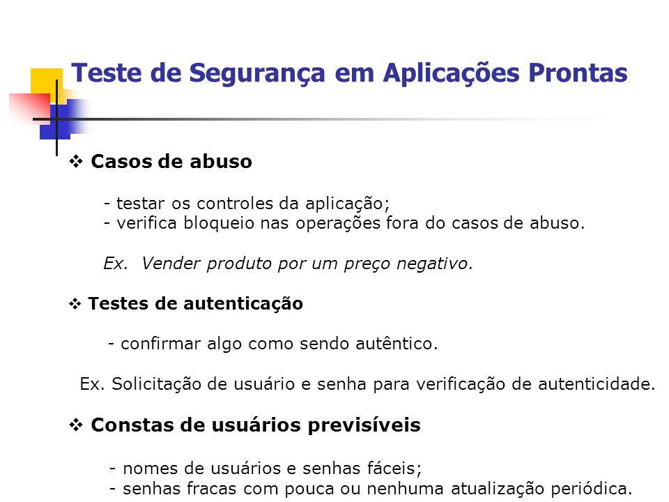 Casos de abuso - testar os controles da aplicação; - verifica bloqueio nas operações fora do casos de abuso. Ex. Vender produto por um preço negativo.