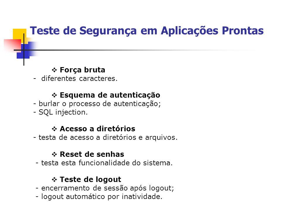 Teste de Segurança em Aplicações Prontas Força bruta - diferentes caracteres. Esquema de autenticação - burlar o processo de autenticação; - SQL injec