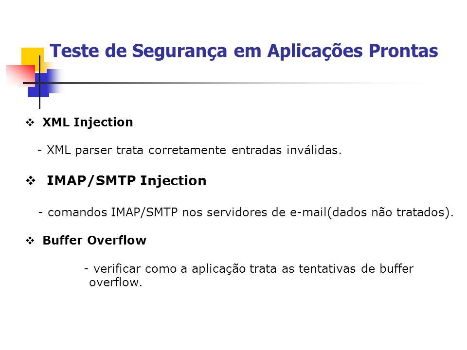 Teste de Segurança em Aplicações Prontas XML Injection - XML parser trata corretamente entradas inválidas. IMAP/SMTP Injection - comandos IMAP/SMTP no