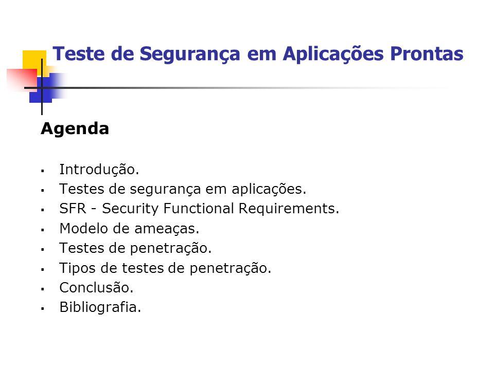 Agenda Introdução. Testes de segurança em aplicações. SFR - Security Functional Requirements. Modelo de ameaças. Testes de penetração. Tipos de testes