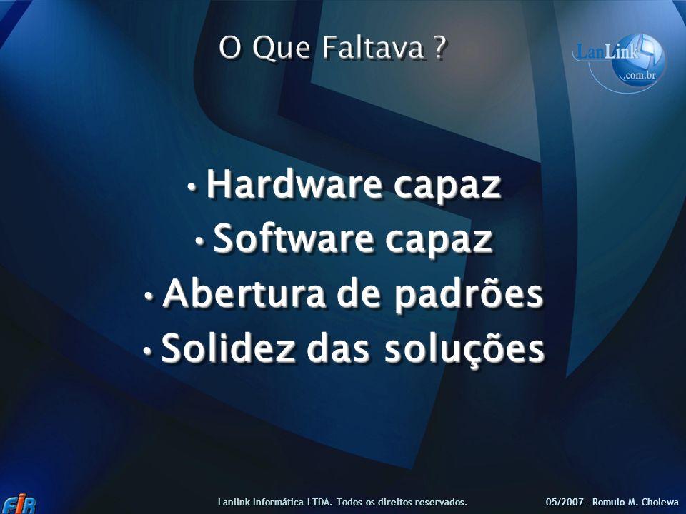 Hardware capazHardware capaz Software capazSoftware capaz Abertura de padrõesAbertura de padrões Solidez das soluçõesSolidez das soluções Hardware cap