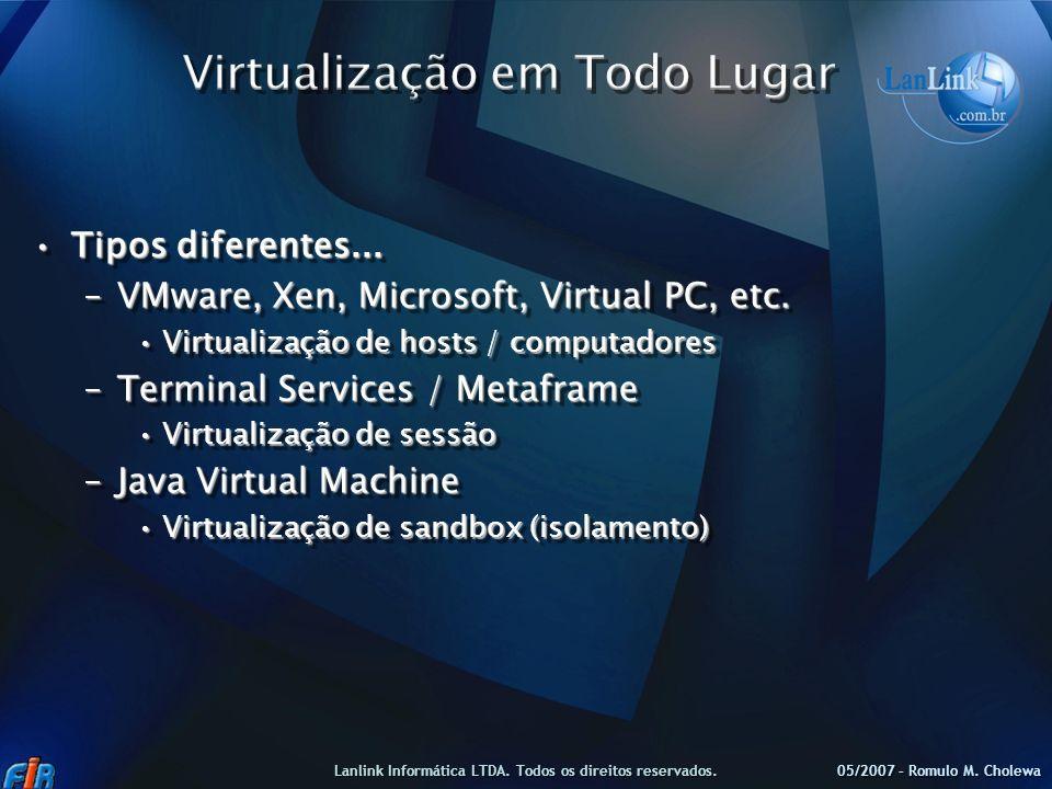 Tipos diferentes...Tipos diferentes... –VMware, Xen, Microsoft, Virtual PC, etc. Virtualização de hosts / computadoresVirtualização de hosts / computa