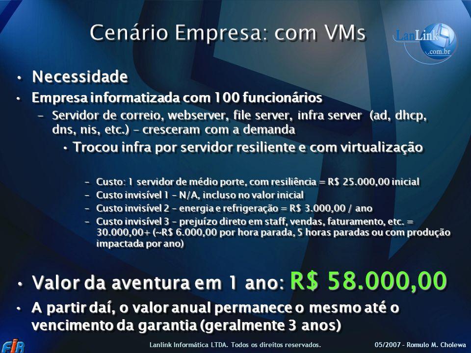 NecessidadeNecessidade Empresa informatizada com 100 funcionáriosEmpresa informatizada com 100 funcionários –Servidor de correio, webserver, file serv