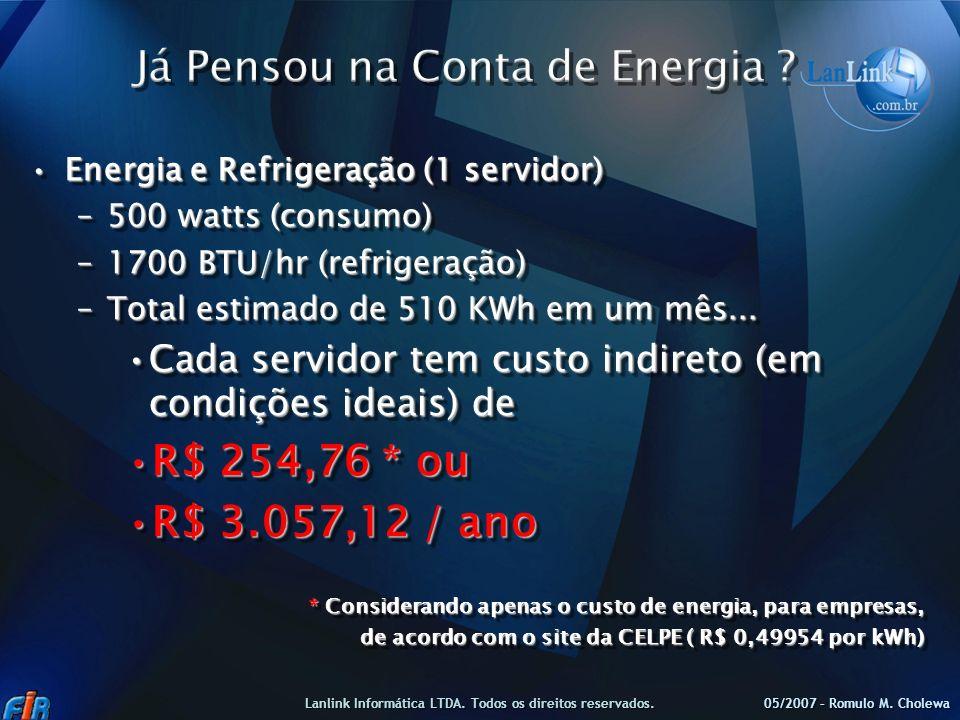 Energia e Refrigeração (1 servidor)Energia e Refrigeração (1 servidor) –500 watts (consumo) –1700 BTU/hr (refrigeração) –Total estimado de 510 KWh em