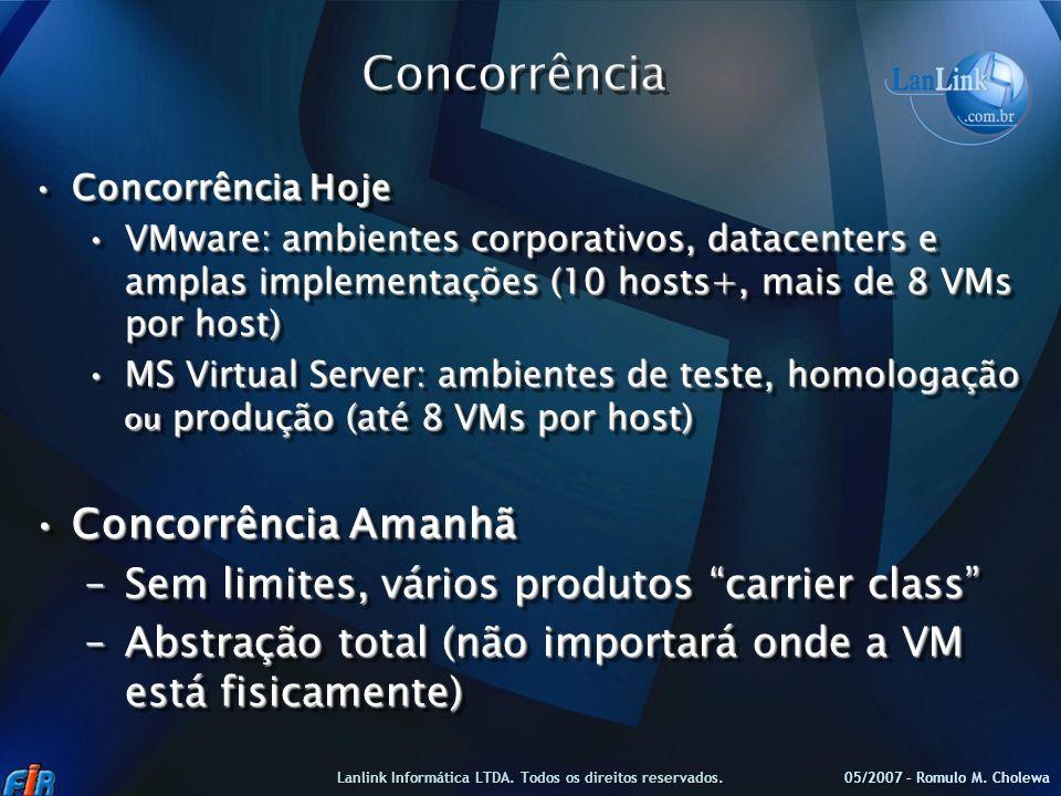Concorrência HojeConcorrência Hoje VMware: ambientes corporativos, datacenters e amplas implementações (10 hosts+, mais de 8 VMs por host)VMware: ambi