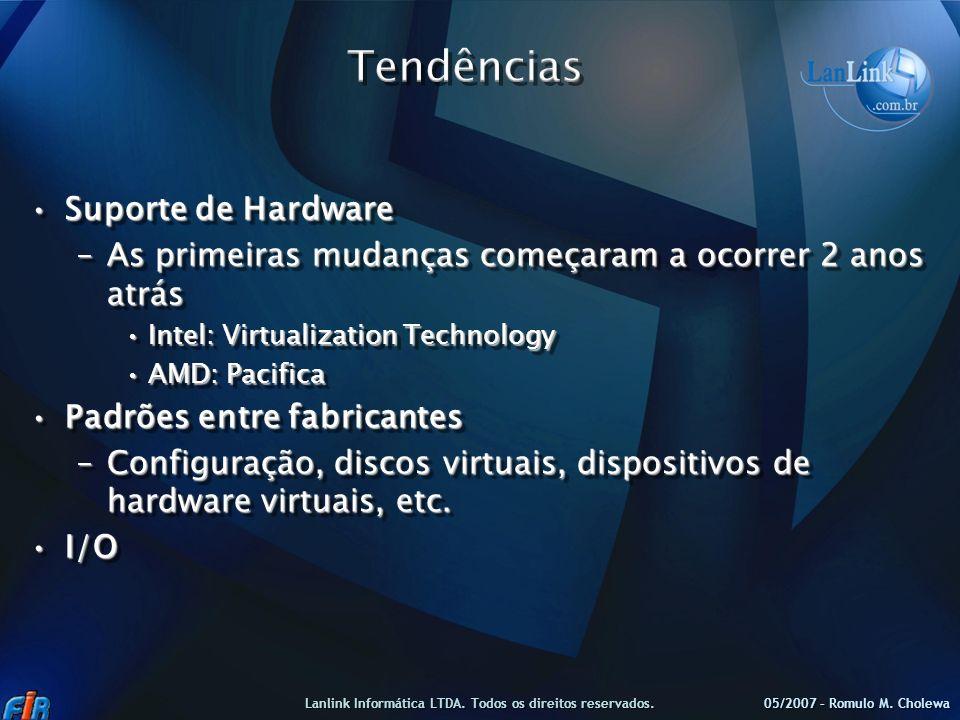 Suporte de HardwareSuporte de Hardware –As primeiras mudanças começaram a ocorrer 2 anos atrás Intel: Virtualization TechnologyIntel: Virtualization T