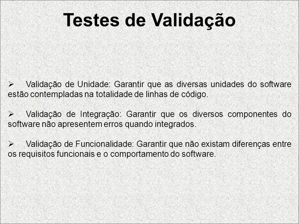 Testes de Validação Validação de Unidade: Garantir que as diversas unidades do software estão contempladas na totalidade de linhas de código. Validaçã