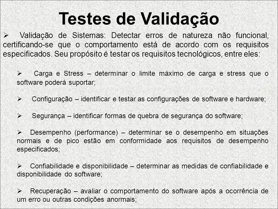 Testes de Validação Validação de Sistemas: Detectar erros de natureza não funcional, certificando-se que o comportamento está de acordo com os requisi