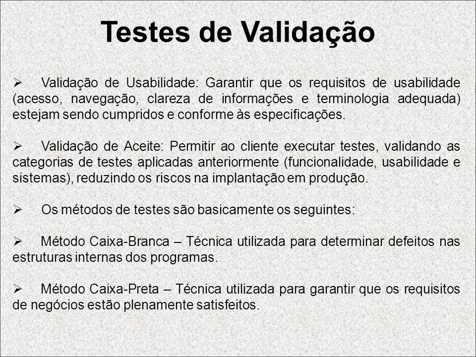 Testes de Validação Validação de Usabilidade: Garantir que os requisitos de usabilidade (acesso, navegação, clareza de informações e terminologia adeq