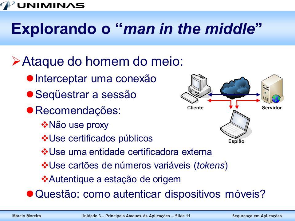 Segurança em AplicaçõesMárcio MoreiraUnidade 3 – Principais Ataques às Aplicações – Slide 11 Explorando o man in the middle Ataque do homem do meio: I