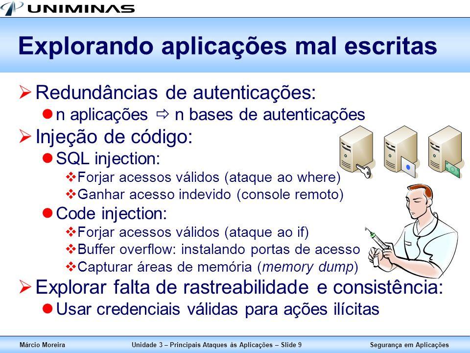 Segurança em AplicaçõesMárcio MoreiraUnidade 3 – Principais Ataques às Aplicações – Slide 9 Explorando aplicações mal escritas Redundâncias de autenti
