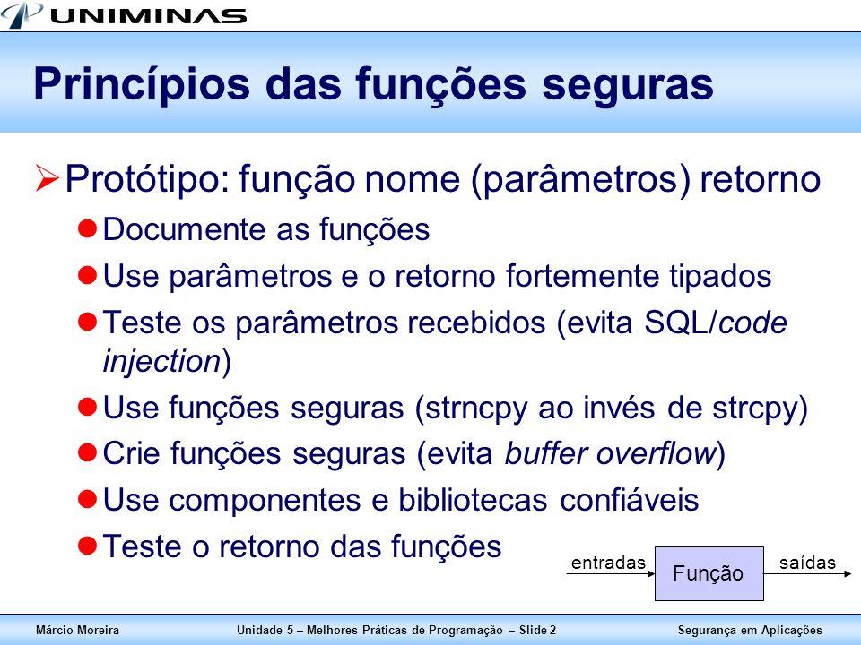 Segurança em AplicaçõesMárcio MoreiraUnidade 5 – Melhores Práticas de Programação – Slide 2 Princípios das funções seguras Protótipo: função nome (par