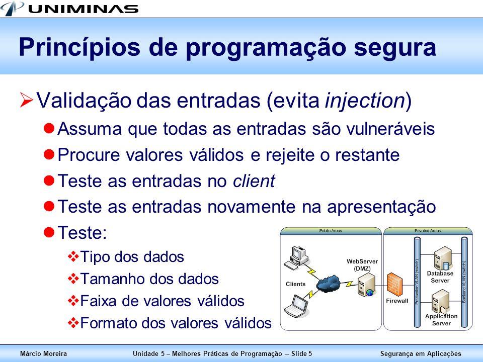 Segurança em AplicaçõesMárcio MoreiraUnidade 5 – Melhores Práticas de Programação – Slide 5 Princípios de programação segura Validação das entradas (e