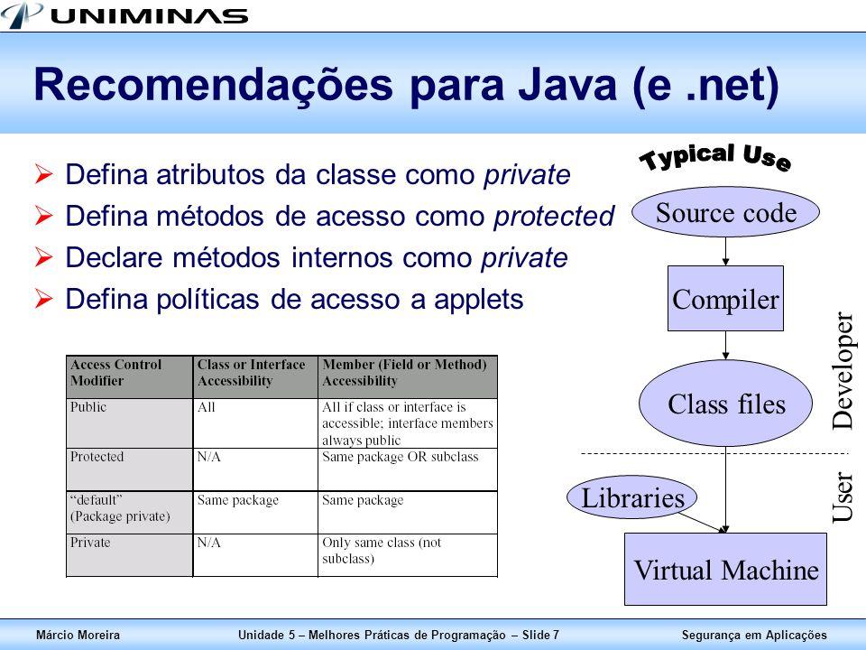 Segurança em AplicaçõesMárcio MoreiraUnidade 5 – Melhores Práticas de Programação – Slide 7 Recomendações para Java (e.net) Defina atributos da classe