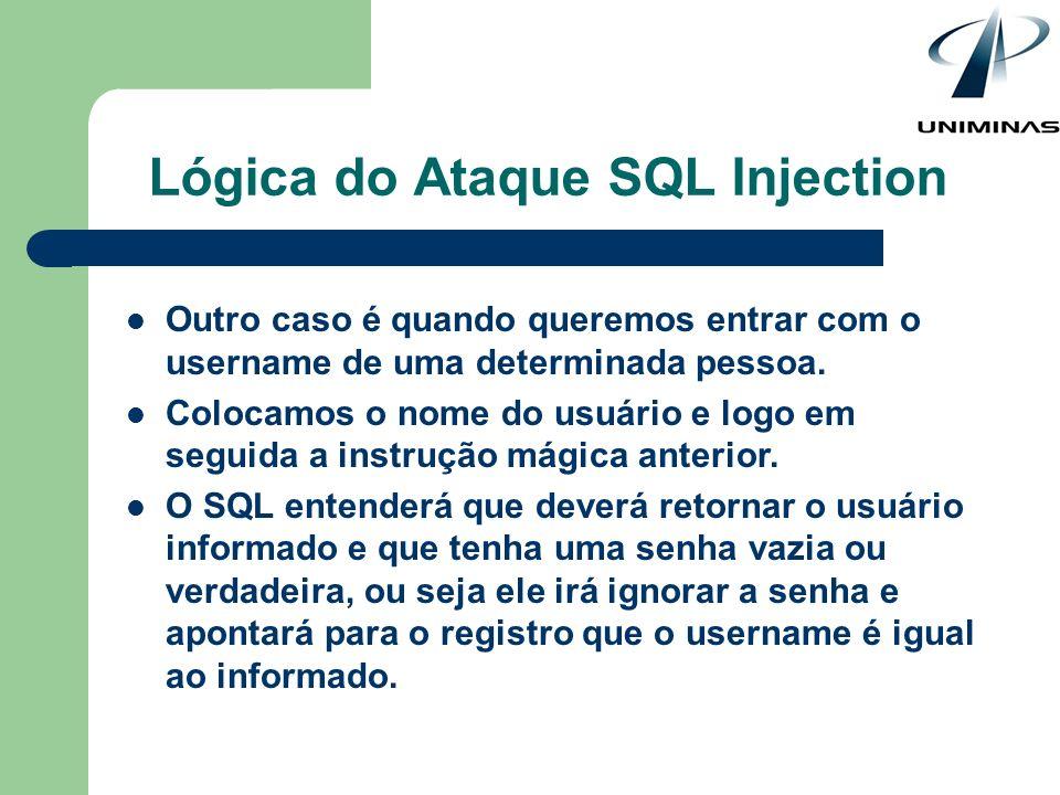 Lógica do Ataque SQL Injection Outro caso é quando queremos entrar com o username de uma determinada pessoa. Colocamos o nome do usuário e logo em seg