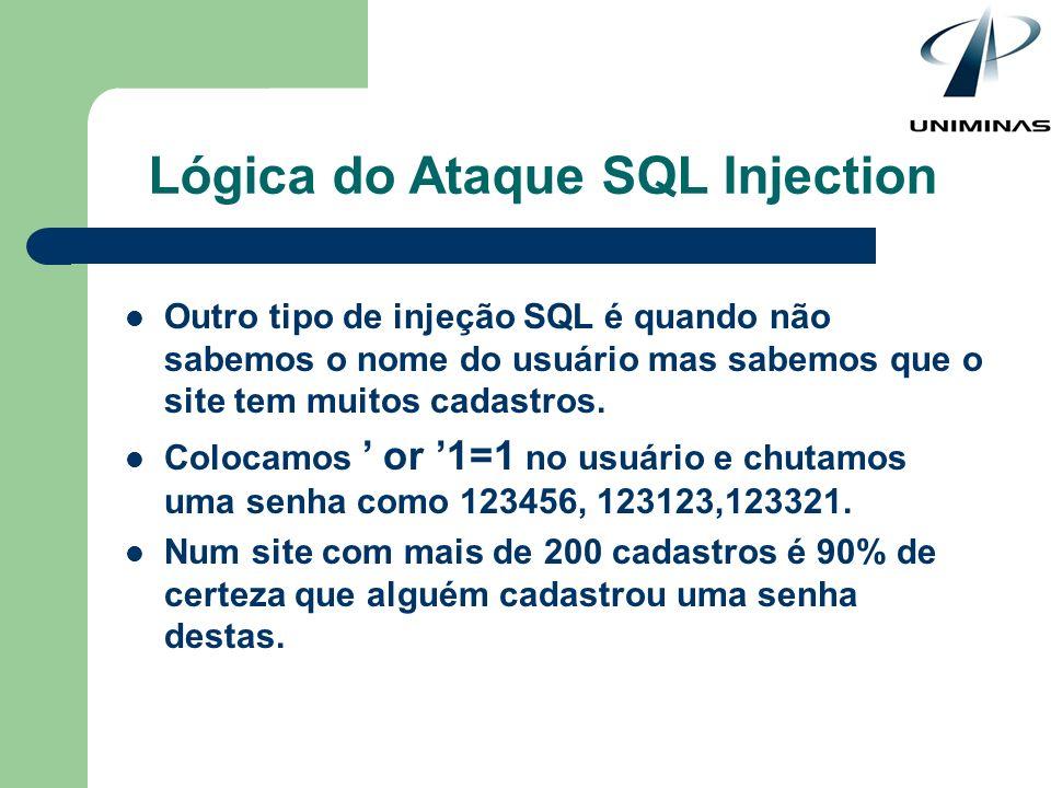 Lógica do Ataque SQL Injection Outro tipo de injeção SQL é quando não sabemos o nome do usuário mas sabemos que o site tem muitos cadastros. Colocamos