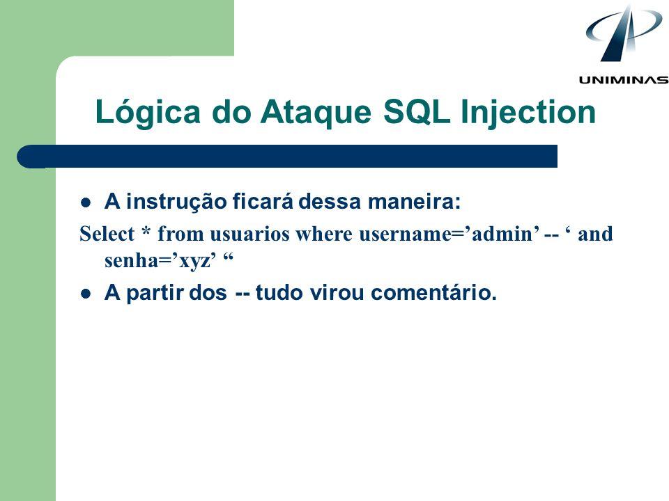 Lógica do Ataque SQL Injection A instrução ficará dessa maneira: Select * from usuarios where username=admin -- and senha=xyz A partir dos -- tudo vir