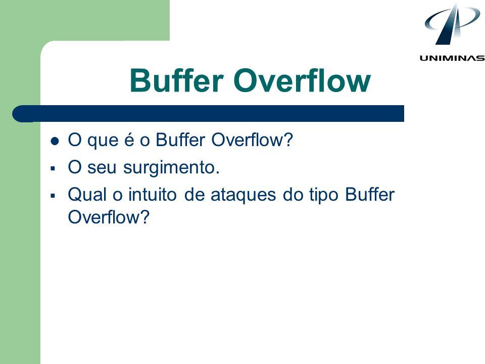 Buffer Overflow O que é o Buffer Overflow? O seu surgimento. Qual o intuito de ataques do tipo Buffer Overflow?