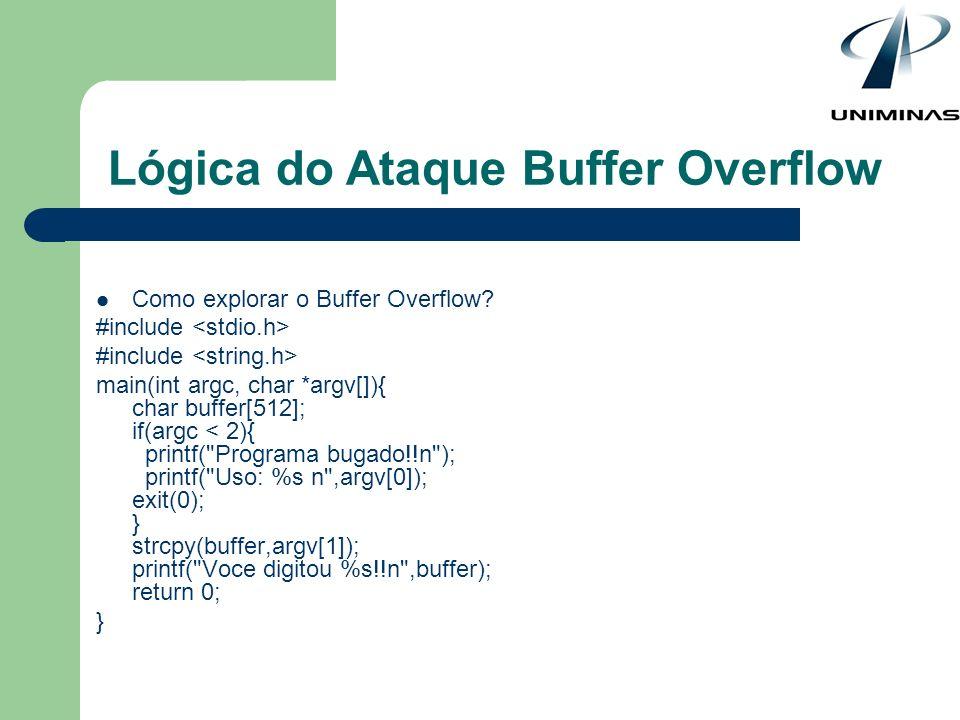 Como explorar o Buffer Overflow? #include main(int argc, char *argv[]){ char buffer[512]; if(argc < 2){ printf(