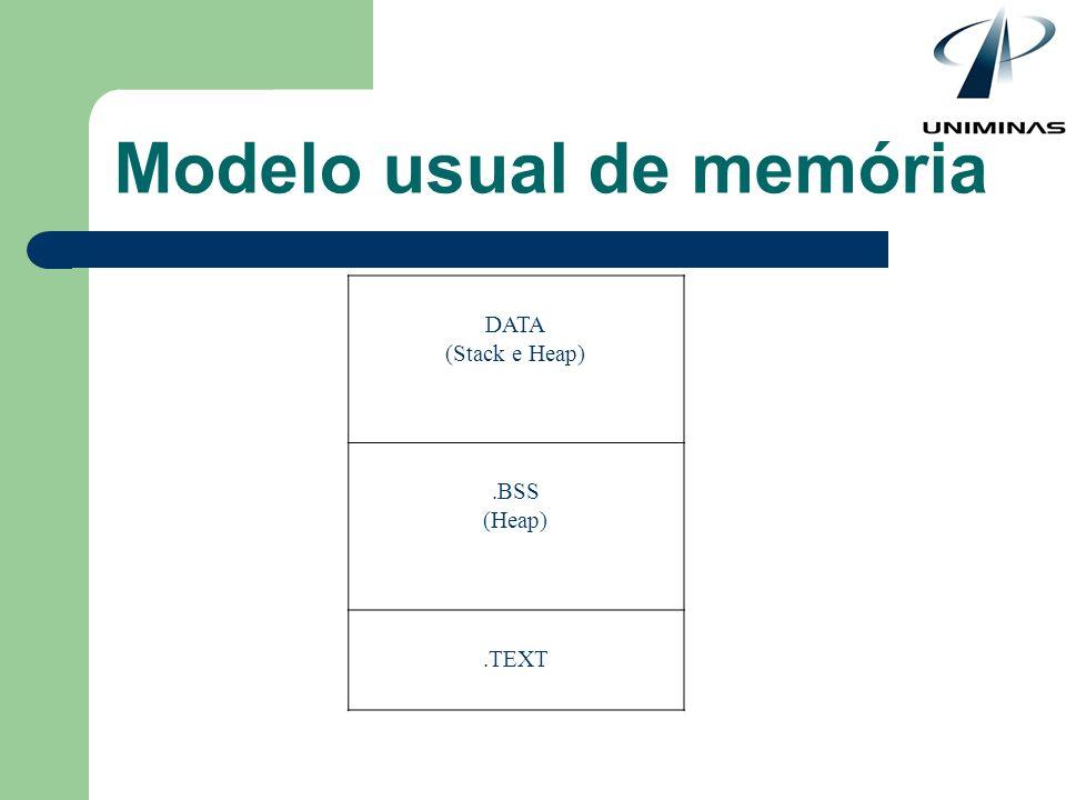Modelo usual de memória DATA (Stack e Heap).BSS (Heap).TEXT