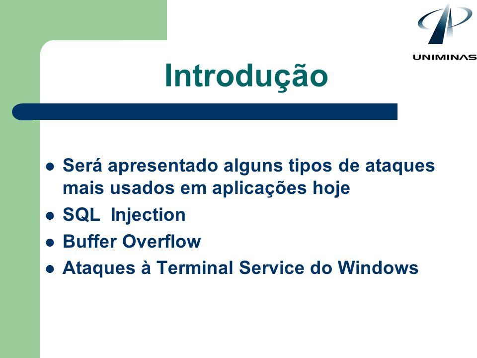 Será apresentado alguns tipos de ataques mais usados em aplicações hoje SQL Injection Buffer Overflow Ataques à Terminal Service do Windows Introdução