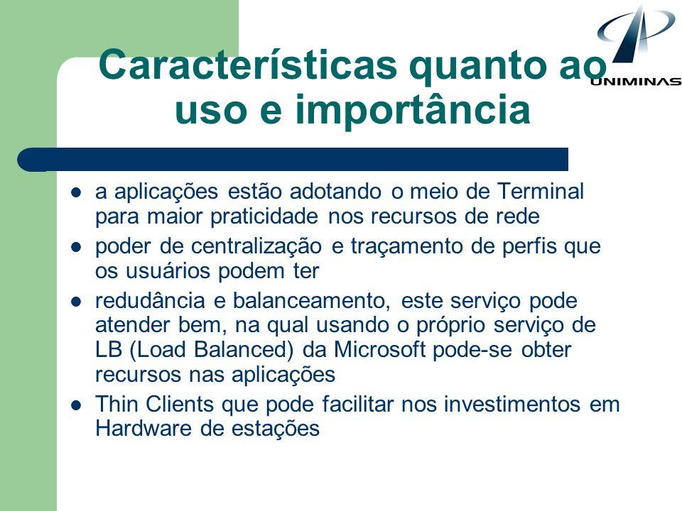Características quanto ao uso e importância a aplicações estão adotando o meio de Terminal para maior praticidade nos recursos de rede poder de centra