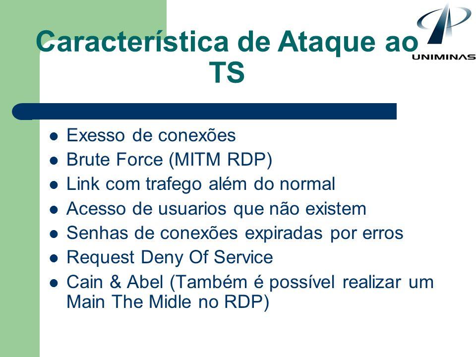 Característica de Ataque ao TS Exesso de conexões Brute Force (MITM RDP) Link com trafego além do normal Acesso de usuarios que não existem Senhas de